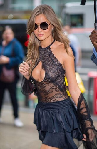 top bodysuit mini skirt black skirt josephine skriver summer top summer outfits lace top lace lingerie victoria's secret model
