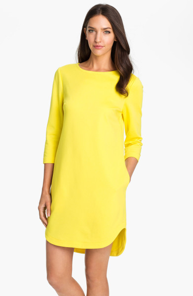 Trina Turk Sculptor Boatneck Shift Dress in Yellow (pineapple) | Lyst