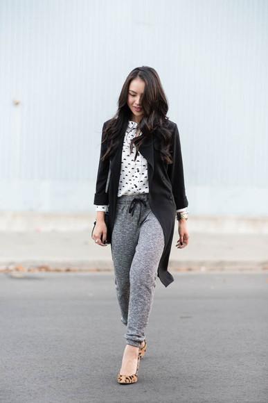 blogger print bag blouse jacket the fancy pants report jewels tailoring