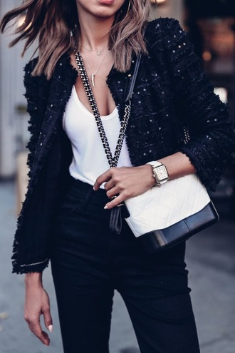 bag chanel gabrielle small hobo bag chanel chanel bag white bag top jacket black jacket white top watch accessory