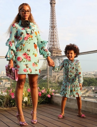 dress beyonce sandals glasses mini dress floral dress spring dress long sleeve dress ruffle dress ruffle shoes blue ivy