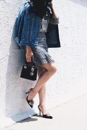dress,tumblr,mini dress,gingham,jacket,denim jacket,denim,pumps,slingbacks,high heels,heels,bag,black bag,shoes,gingham dresses