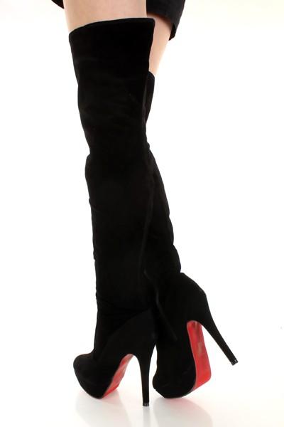 9606567360a4 Black Smooth Faux Suede Thigh High Platform Boots   Sexy Clubwear ...