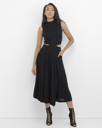 pants black black pants culottes black culottes pleated pleated pants pleated culottes wide-leg pants