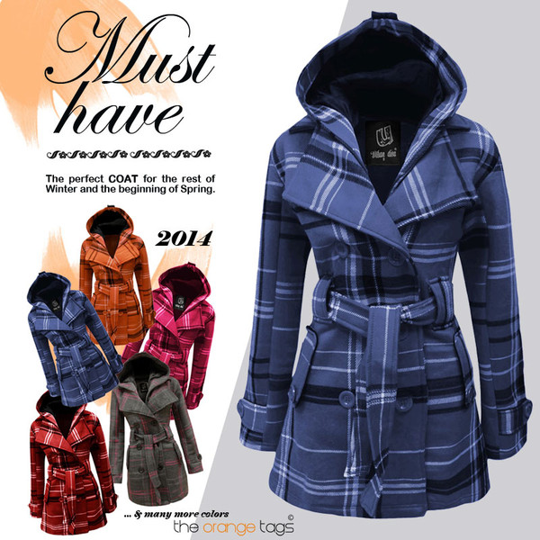 coat women ladies military style jacket check coat hooded winter outfits spring squares tartan blue fuschia yellow cream grey orange fashion casual trendy