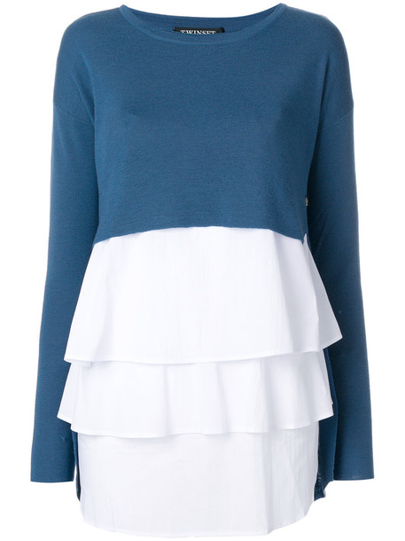 Twin-Set jumper women spandex layered cotton blue wool sweater