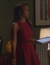 dress,red,lace up,how to get away with murder,Aja Naomi King,Michaela Pratt