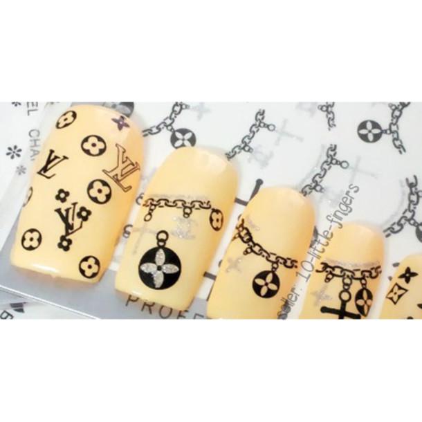 nail accessories, nail art, chanel, silver, glitter, logo, symbol ...