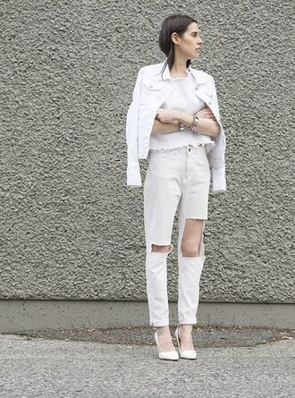 top all white everything white top white jacket white jeans ripped jeans ripped jeans frayed denim frayed top pumps white pumps cuff bracelet silver cuff
