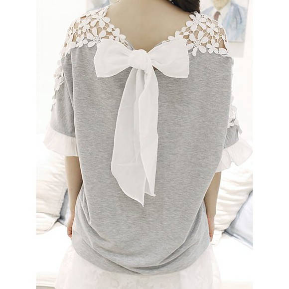 bows girly cute t-shirt lace vintage lace gray and white