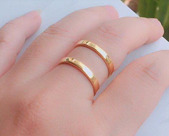 Double Band Ring - Gold Ring - Unique Ring - Delicate Ring - Silver Two Band Ring
