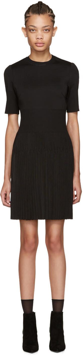 dress pleated knit black