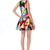 Multicolor Sleeveless Graffiti Print Flare Short Dress - Sheinside.com