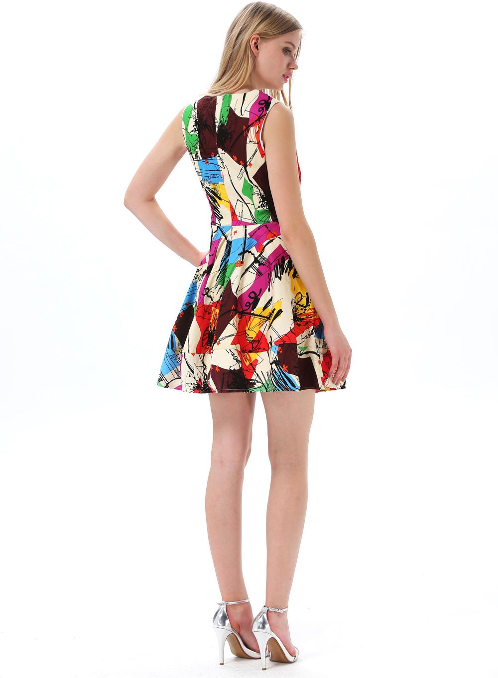 Multicolor Sleeveless Graffiti Print Flare Short Dress - Sheinside.com