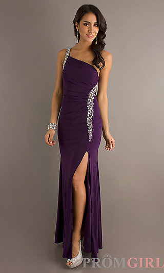 One Shoulder Prom Gown, Red Carpet Formal Dress- PromGirl
