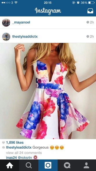 dress white pink flowers floral dress
