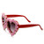 Womens Heart Shaped Flower Adorned Oversize Sunglasses 9197                           | zeroUV