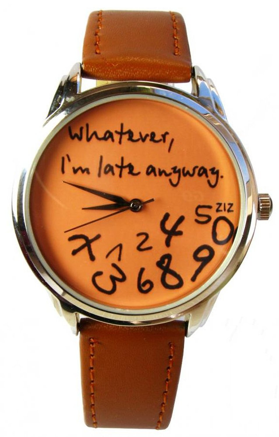 Amazon.com: ziz orange whatever, i'm late anyway watch unisex wrist watch, quartz analog watch with leather band: ziz: watches