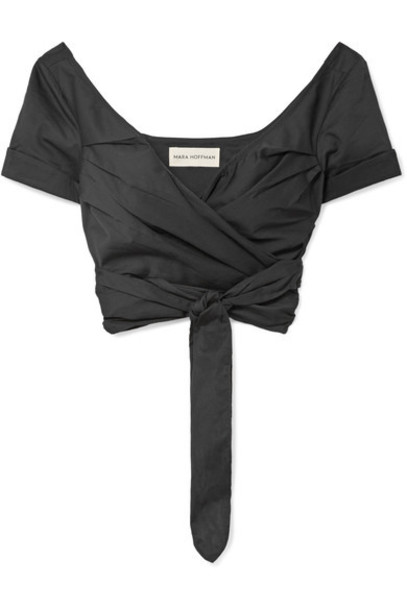 top wrap top cropped cotton black