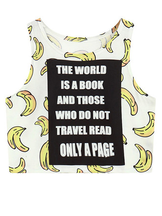 top cool fashion style banana print quote on it crop tops teenagers white zaful