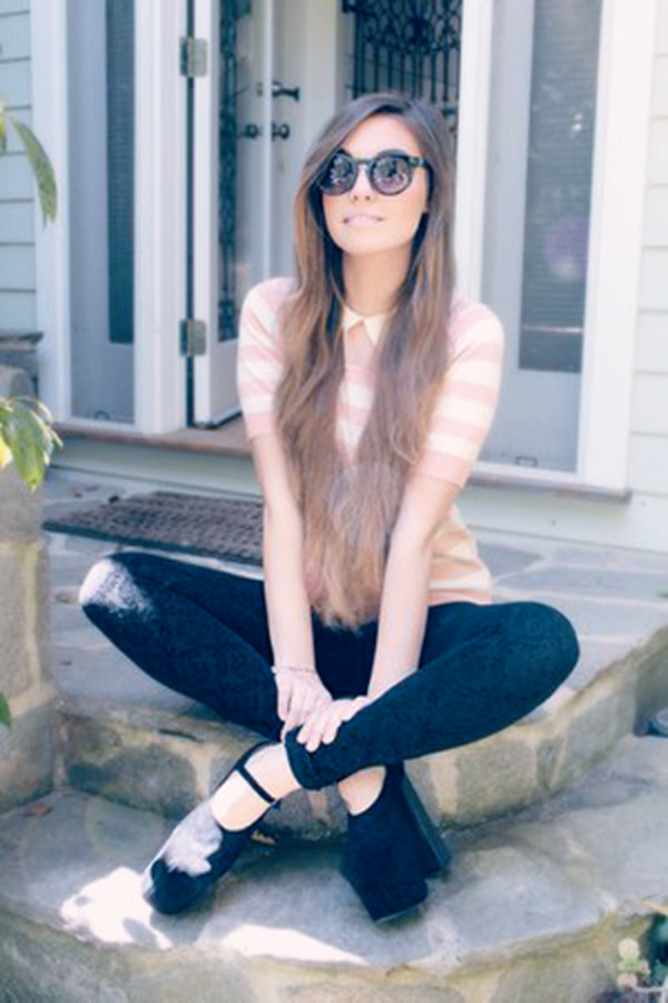 t-shirt girly shirt pants cutiepie marzia stripes pink white youtube