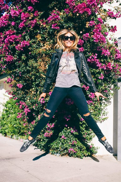 jacket leather jacket bag zara blogger t-shirt jeans devon rachel sunglasses ripped jeans