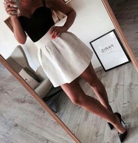 skirt shirt black skirt white lace summer dress spring outfit short summer stripes
