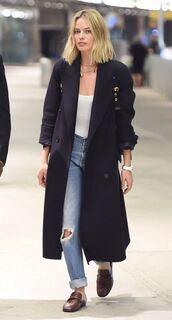 coat,margot robbie,jeans,top,denim,fall outfits,burberry,long coat