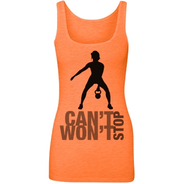 Can t Stop Won t Stop: Custom Junior Fit Next Level Longer Length Neon