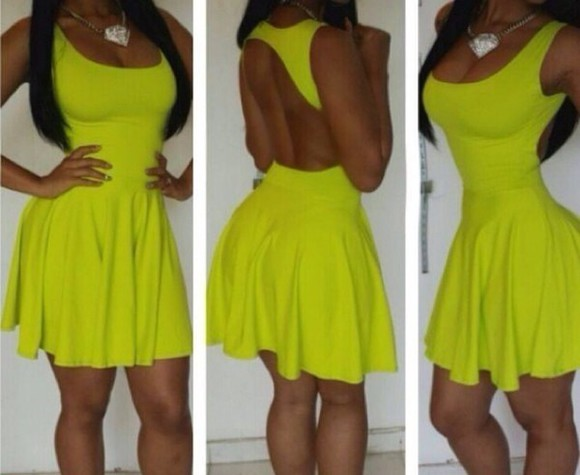 neon yellow neon color dress neon dress skater dress cocktail dresses
