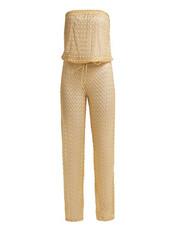 jumpsuit,strapless,gold,knit,crochet