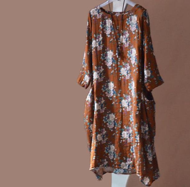 dress printing long dress