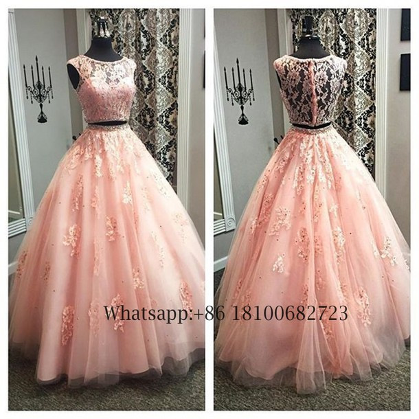 dress, beautyu, two piece prom dresses, lace prom dresses ...