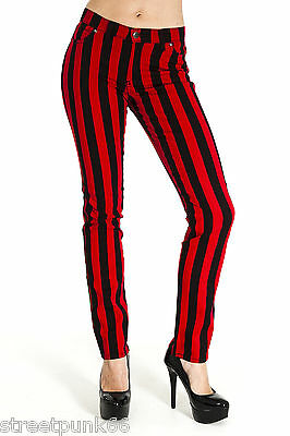 NEW WOMENS SKINNY STRETCH MID RISE BLACK AND RED 1