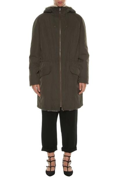 Yves Salomon parka fur green army green coat