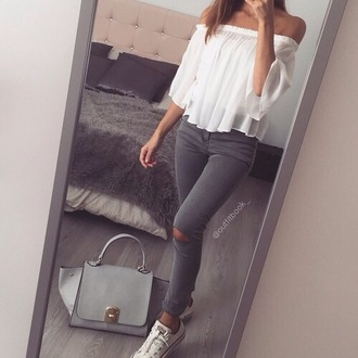 t-shirt white t-shirt jeans grey jeans