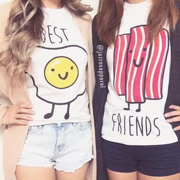 b54d6605 t-shirt, egg top, bacon, best friends top, matching best friend ...