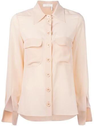 blouse women slit nude silk top