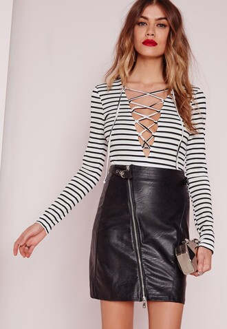 top lace up lace up top stripes