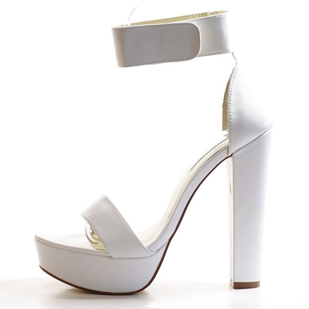 shoes heels white platform shoes