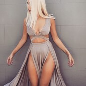 dress,cut-out dress,grey,sexy dress,cute dress,long dress,gown,slit dress,style,fashion,sexy party dresses,prom dress,cute outfits
