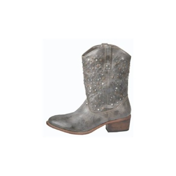 low boots studs leather western cowboy