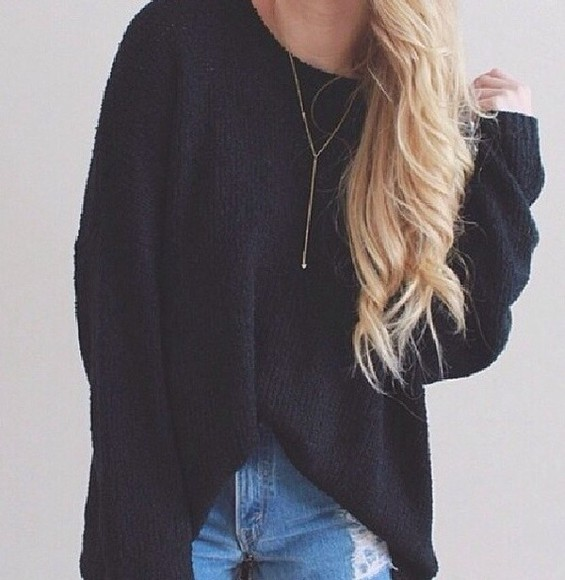 sweater navy jumper black jumper baggy jumper,
