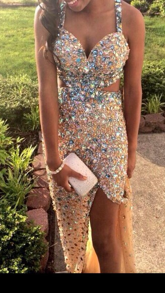 dress slit prom dress party slit skirt nude jewels sparkly cute dress fashion glitter dress summer dress bridesmaid wedding dress wedding clothes pastel party dress jasz couture