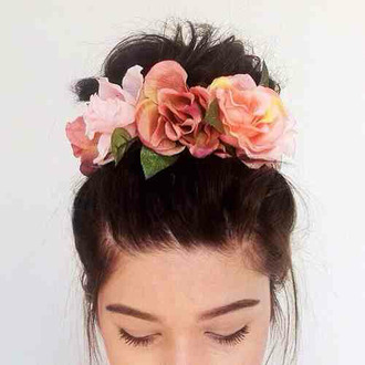 hair accessory hipster wedding flower crown accessories accessory flower headband hair bun flowers floral pink pastel girly