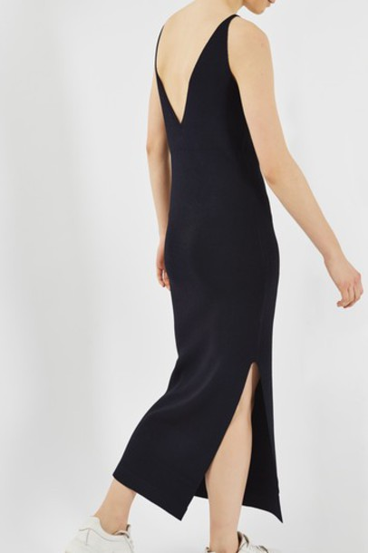 Topshop dress slip dress strappy navy blue