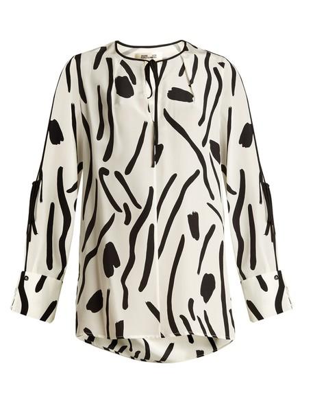 Diane Von Furstenberg blouse print silk white black top