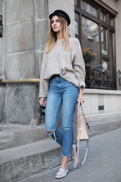 fashionagony,blogger,sunglasses,sweater,tumblr,grey sweater,denim,jeans,blue jeans,cropped jeans,ripped jeans,shoes,loafers,bag,nude bag,fisherman cap