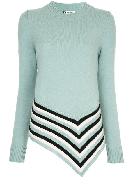 Lanvin - asymmetric striped jumper - women - Wool - S, Green, Wool