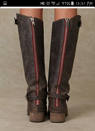 shoes boots zip-up brown boots red zipper boots